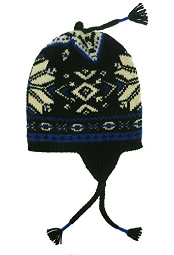 ns Wool Fair Isle Winter Hat Black O/S ()