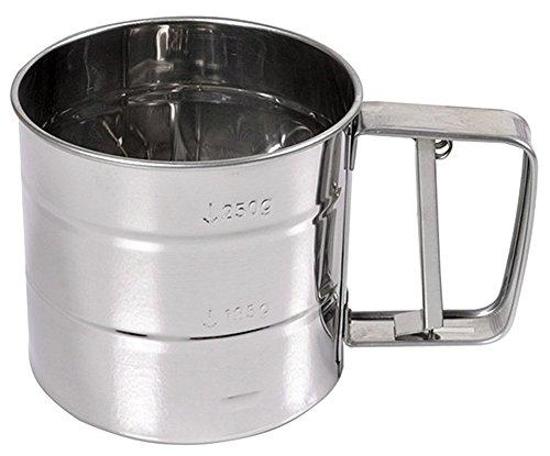 (RoseSummer Stainless Mechanical Flour Sugar Icing Mesh Sifter Shaker Baking Kitchen Tool)