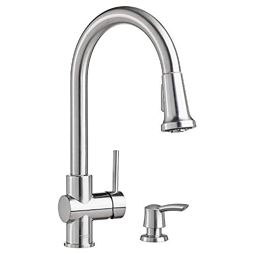 American Standard 9379315.075 Montvale Single-Handle Pull-Down Sprayer Kitchen Faucet with Soap Dispenser in Stainless Steel American Standard Brass Soap Dispenser