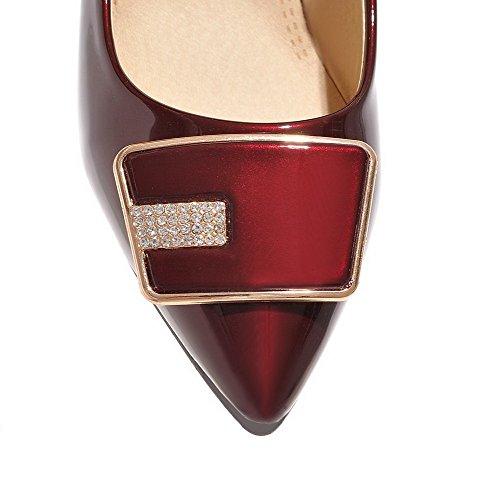 Amoonyfashion Mujer Pull-on Pu Con Punta Cerrada Kitten-heels Solid Pumps-Zapatos Red