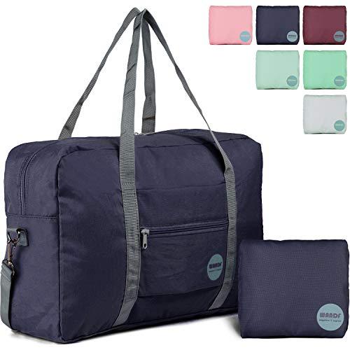Wandf Foldable Travel Duffel Bag Luggage Sports Gym Water Resistant Nylon (Dark Blue 2019) (Tote Duffle Bag Luggage)