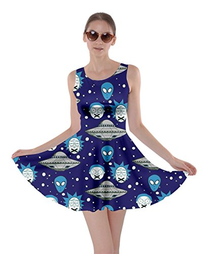 CowCow Womens Navy Rick Morty in Space Skater Dress, Navy - L]()