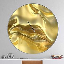 Designart Golden Cloth Texture' Oversized Modern Metal Clock, Circle Wall Decoration Art, 38x38 Inches, Gold