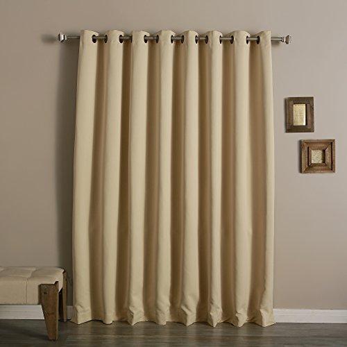 beige wide width grommet top thermal blackout curtain 100w x 84l 1 panel bww ebay. Black Bedroom Furniture Sets. Home Design Ideas