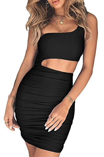 CHYRII Womens Sexy Cut-Out One Shoulder Mini Party Club Dress Black M