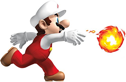 - 9 Inch Fireball Fire Ball Super Mario Bros Brothers Removable Wall Decal Sticker Art Nintendo 64 SNES Home Kids Room Decor Decoration - 9 by 5 3/4 inches