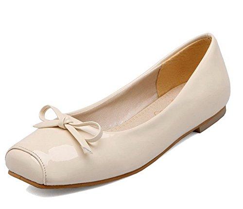 AllhqFashion Womens Low Heel Microfiber Solid Square-Toe Pumps-Shoes Beige oOZE1mF8z
