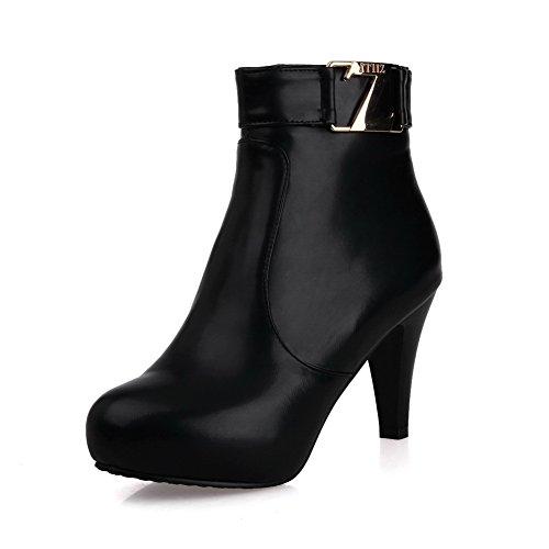 Ladola Girls Platform Buckle Zipper Round Toe Black Imitated Leather Boots - 7 B(M) - Girl Spice Platform Boots