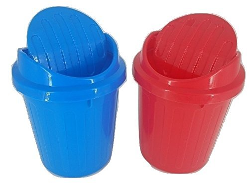 (Desktop Mini Trash Can Rubbish Bin with Swing Lid Set of 2 (Red Blue))