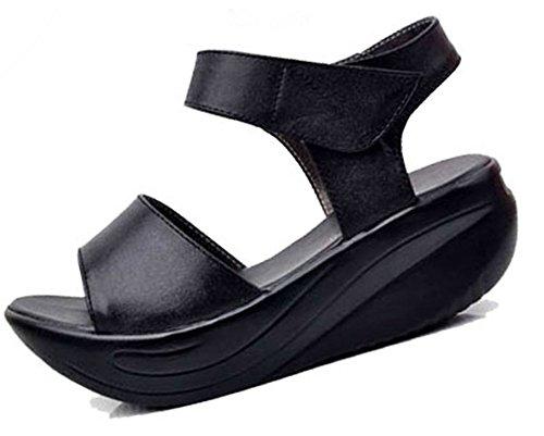 (ホーマイ)HOOMAI サンダル ウェッジソール レディース 厚底 本革 レザー ヒール5cm 婦人靴 マジックテープ コンフォート 大きいサイズ 小さいサイズ 22-26.5cm