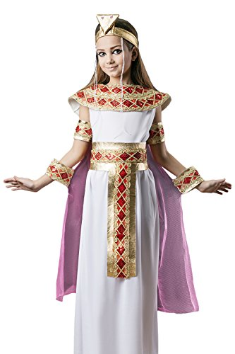 Golden Goddess Egyptian Costume (Kids Girls Cleopatra Nefertiti Egyptian Cleo Nile Goddess Costume Party Dress Up (3-6 years, White/Gold/Red))