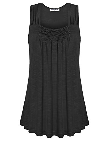 Pleated Square Neck - Becanbe Pleated Tops,Womens Ruched Flowy Top Fitted Cotton Casual Square Neck Sleeveless Tanks Shirt(Black,Medium)