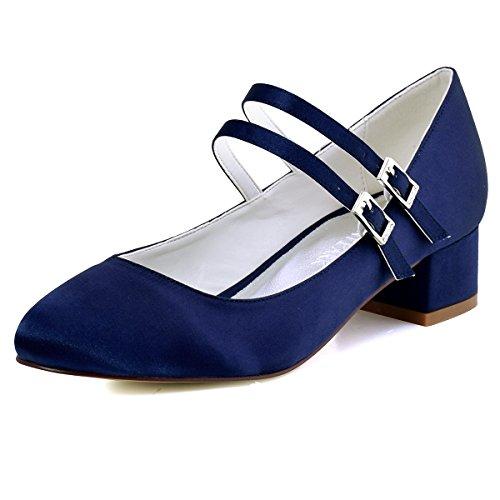 ElegantPark FC1615 Women Closed Toe Chunky Heel Mary Jane Pumps Satin Evening Wedding Dress Shoes Navy Blue US (Womens Dyeable Wedding Shoes)