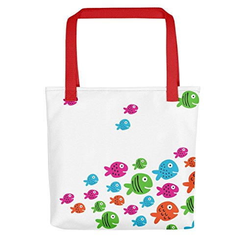 tiddlers & nippers - Bolso de tela para mujer Multicolor Red Handles 38cm x 38cm Red Handles