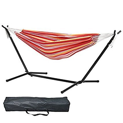 BlackShark Double Hammock With Stand Portable Carrying Case, 9.2-feet Easy Assemble Space Saving Steel Stand, 440 lbs Enough Space Load Capacity Accommodates Two Adults