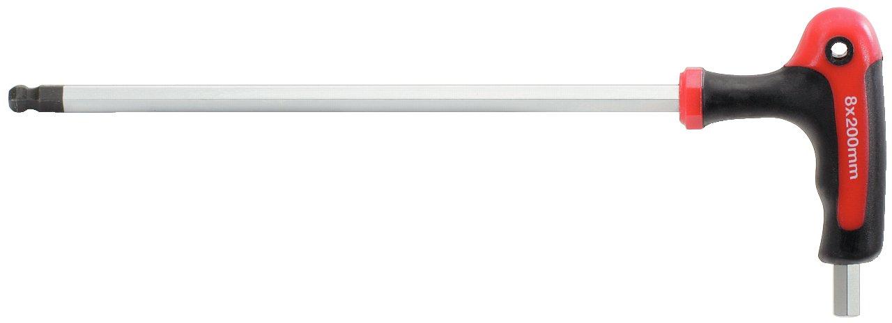 tama/ño: 10 mm, L=200 mm 10mm KS Tools 151.8138 Llave Allen acodada con cabeza esf/érica y empu/ñadura en T