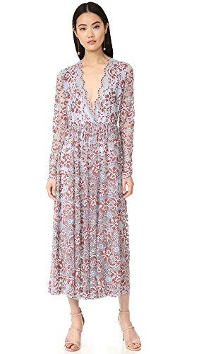 Ganni Women's Flynn Lace Gown, Sterling Blue, 38