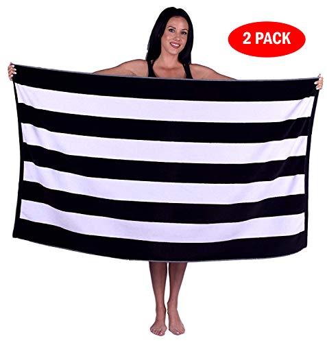 Turquoise Textile 100% Turkish Cotton Eco-Friendly Cabana Stripe Pool Beach Towel, 35x60 Inch (2 Pack, Black)
