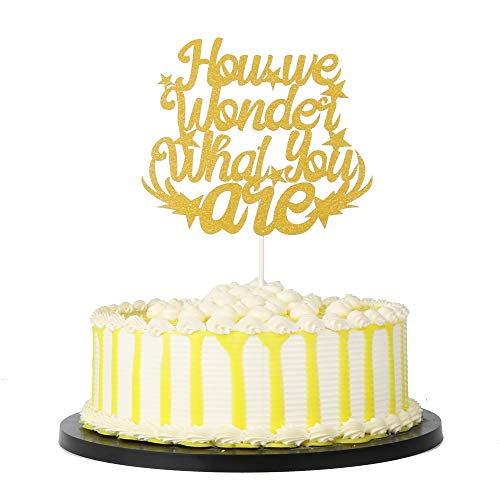 PALASASA Gold Single Sided Glitter How We Wonder What You Are cake topper Gender Reveal party Decoration