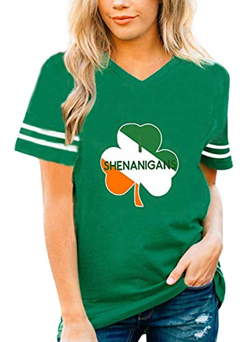 Roshop Green Irish Distressed Shamrock T-Shirt St Patricks Day Women's Ireland Pride Tee Shirt(Kelly Green 1, x-Large)