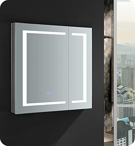 Amazon Com Fresca Spazio 30 Wide X 30 Tall Bathroom Medicine Cabinet W Led Lighting Defogger Home Kitchen