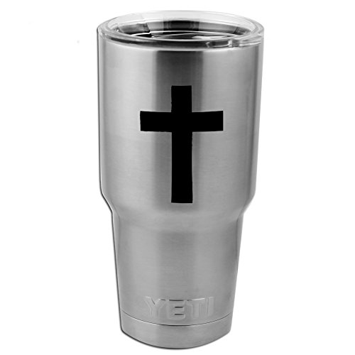 """Religious Christian Cross Silhouette Vinyl Sticker Decal for Yeti Mug Cup Thermos Pint Glass (4"""" Wide - DECAL ONLY, NO CUP)"""