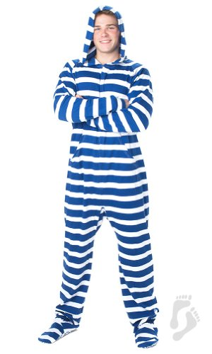 Footed Pajamas - Gone Sailing Adult Cotton Onesie - Extra Large
