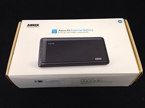 Anker Astro E6 Ultra-High Capacity 20800mAh 3-Port 4A Compact Portable Charger ​External Battery Power Bank with PowerIQ Technology for iPhone, iPad, Samsung and More (Black)
