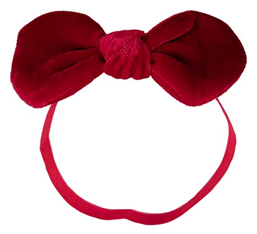 Velvet Bow Red - Hair Bow Headband (Dark Red Velvet (Medium))
