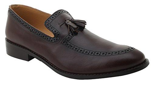 Liberty Mens Leather Handmade Tassel Loafer Slip On Dress Shoes Brown