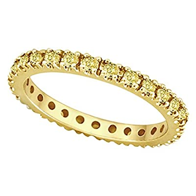 14k Gold Fancy Yellow Canary Diamond Eternity Ring Band (0.51ct)