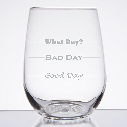 Good Day, Bad Day - Funny 17 oz Stemless Wine Glass, Permanently Etched, Gift for Mom, Co-Worker, Friend, Boss, Christmas - SG10
