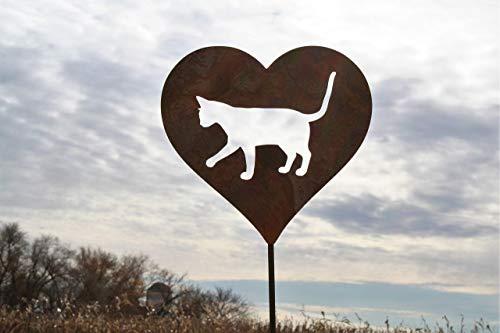 (Cat Heart Garden Stake Pet Memorial)