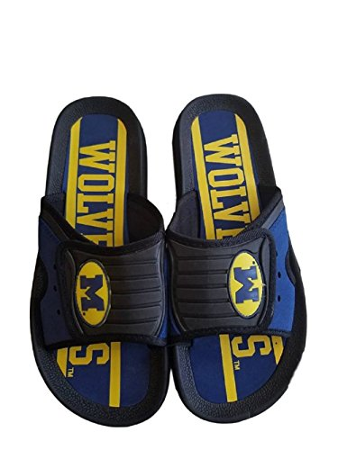 Campus Footnotes Michigan Wolverines Men's Big Blue Shower Slides Sandal Shoes (Small 7/8, Michigan -