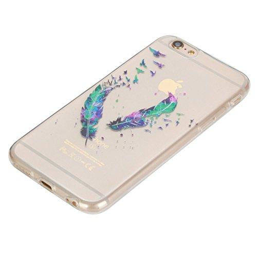 Beiuns pour Apple iPhone 6 Plus (5,5 pouces) Coque en Silicone TPU Housse Coque - HX534 Deux plumes