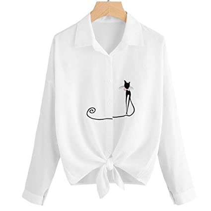 e20e412450a Image Unavailable. Image not available for. Color  Women s Fashion Collar  Long Sleeve Cat Pattern Embroidered Casual Button Down Blouse ...