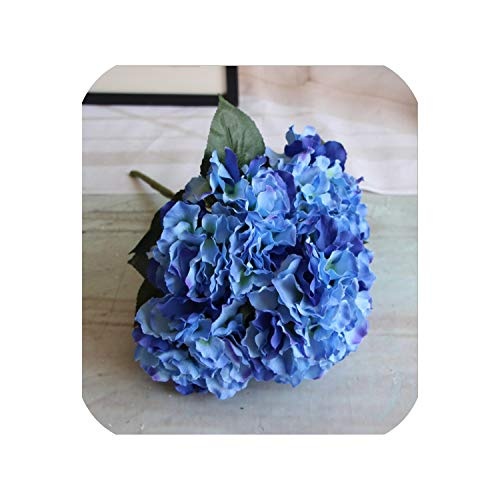 1 Bouquet 5 Flower Ball Big Silk Flower European Artificial Flowers Ball Hydrangea,Deep Blue -