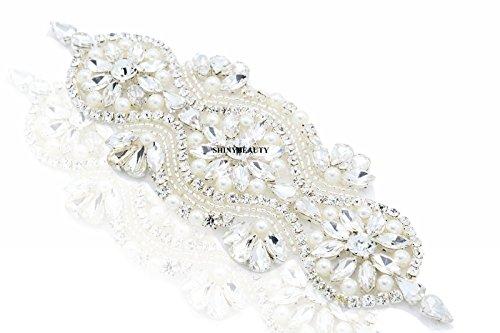 Gorgeous Beaded Bridal Applique Diamante Motif Rhinestone Pearl Wedding Applique ()