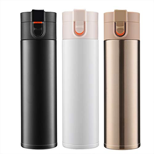 WHXYAA 316 Stainless Steel Vacuum Flask Creative Bouncing Cup high-end Gift Cup (Color : Golden, Size : 500ml)