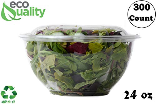 Ounce 24 Bowl Large - 24oz Salad Bowls To-Go with Lids (300 Count) - Clear Plastic Disposable Salad Containers | Airtight, Lunch, Salads, Parfait, Fruits, Leak Proof, Airtight, Fresh, Meal Prep | Rose Bowl Container (24oz)