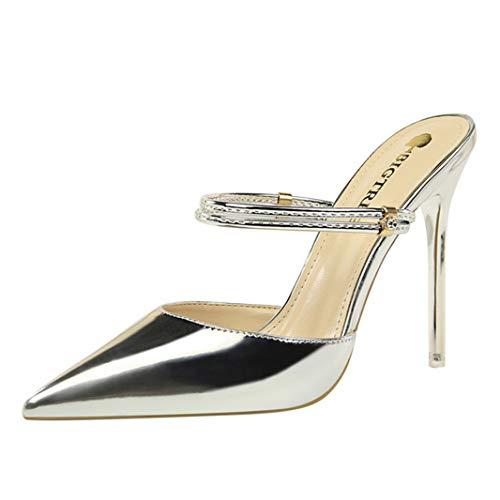 Matte Satin Rhinestone Shoe - Drew Toby Women Pumps Fashion Stiletto High Heel Sexy Shallow Pointed-Toe Sandals