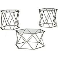 Madanere Occasional Table Set Set Of 3/Chrome/Contemporary