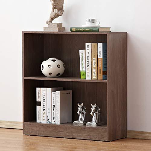soges 2-Tier Wood Storage Cabinet with Back Shelving Unit Cabinet Free Standing Bookshelf in Salt Oak Finish, (Oak Office Shelving Unit)