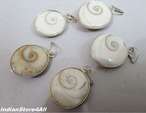 (IndianStore4All Natural Gomti Chakra Pendants Lot of 5 Energized Laxmi Puja Mystic Hindu Miracle)