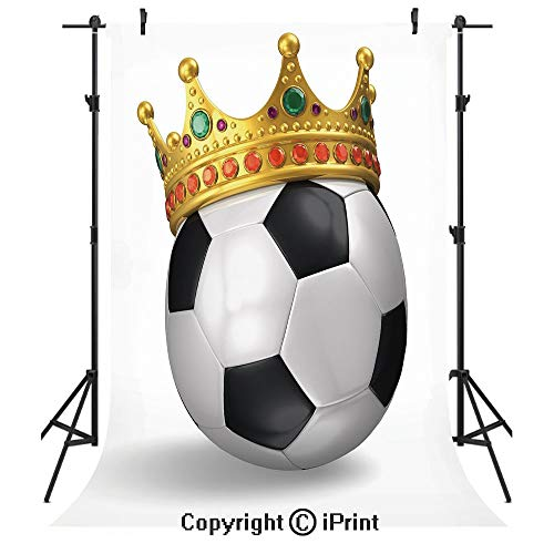 - King Photography Backdrops,Football Soccer Championship Inspired Ball Crown with Ornaments Image Print,Birthday Party Seamless Photo Studio Booth Background Banner 3x5ft,Black White and Gold