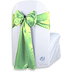 Sparkles Make It Special 50 pcs Satin Chair Cover Bow Sash - Apple Green - Wedding Party Banquet Reception - 28 Colors Available