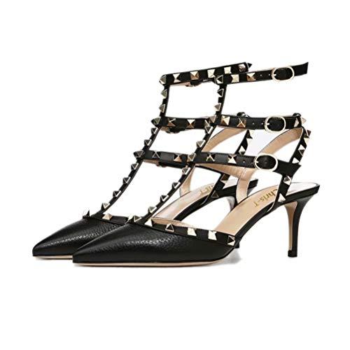 Chris-T Rockstud Sandals for Women,Strappy Studded Gladiator Shoes Slingback Stiletto Heels Stud Pumps
