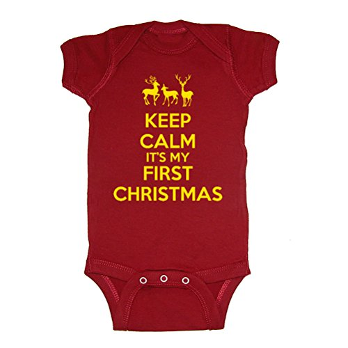 Festive Threads Keep Calm It's My First Christmas Baby Bodysuit (Garnet, 18 Months)