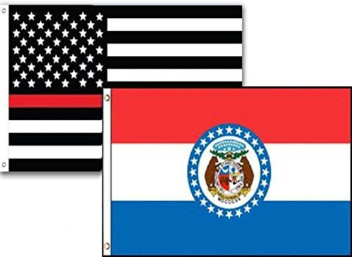 2x3 USA Fire Thin Red Line Missouri State 2 Pack Flag Wholesale Set Combo 2/'x3/'
