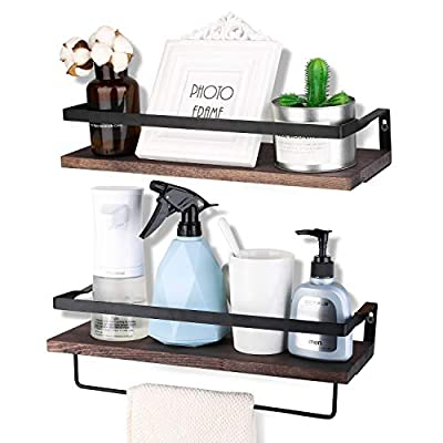 Awekris Floating Shelves Wall Mounted, Rustic Wood Wall Storage Shelves Set of 2, Wall Decorative Shelf Display Storage Rack for Living Room, Kitchen, Bathroom, and Bedroom - Functional and Decorative Storage Shelves: Features rustic style with torched finish wood and industrial metal brackets, decorative and great addition or accent to any wall space of bedroom, bathroom, kitchen and more. Sturdy and easy to install: Floating shelves constructed of high quality wood boards and industrial matte metal brackets super sturdy and easy to follow instruction to assemble and put up Removable Towel Holder: The decorative wall shelves has a separate towel holder could install under the floating shelf or installed to a wall. Install as needed. - wall-shelves, living-room-furniture, living-room - 41UktaS7mbL. SS400  -